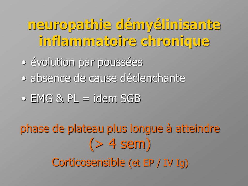 neuropathie démyélinisante inflammatoire chronique •évolution par poussées •absence de cause déclenchante •EMG & PL = idem SGB phase de plateau plus l