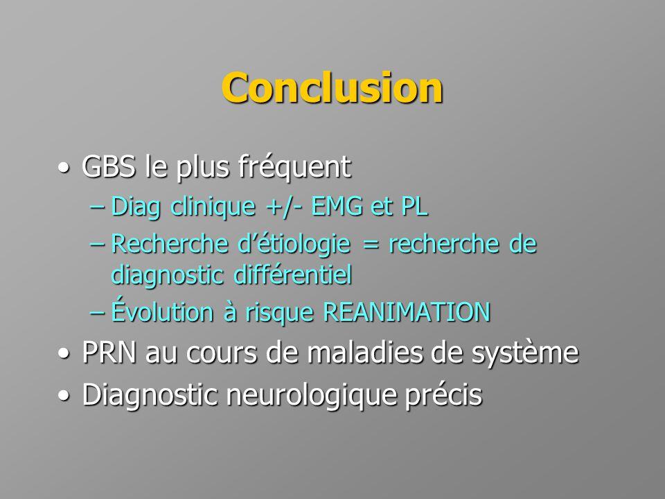 Conclusion •GBS le plus fréquent –Diag clinique +/- EMG et PL –Recherche d'étiologie = recherche de diagnostic différentiel –Évolution à risque REANIM
