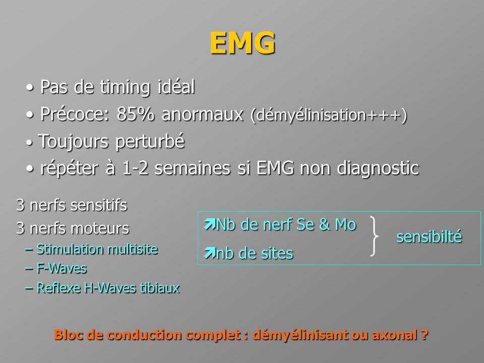 EMG • Pas de timing idéal • Précoce: 85% anormaux (démyélinisation+++) • Toujours perturbé • répéter à 1-2 semaines si EMG non diagnostic  Nb de nerf