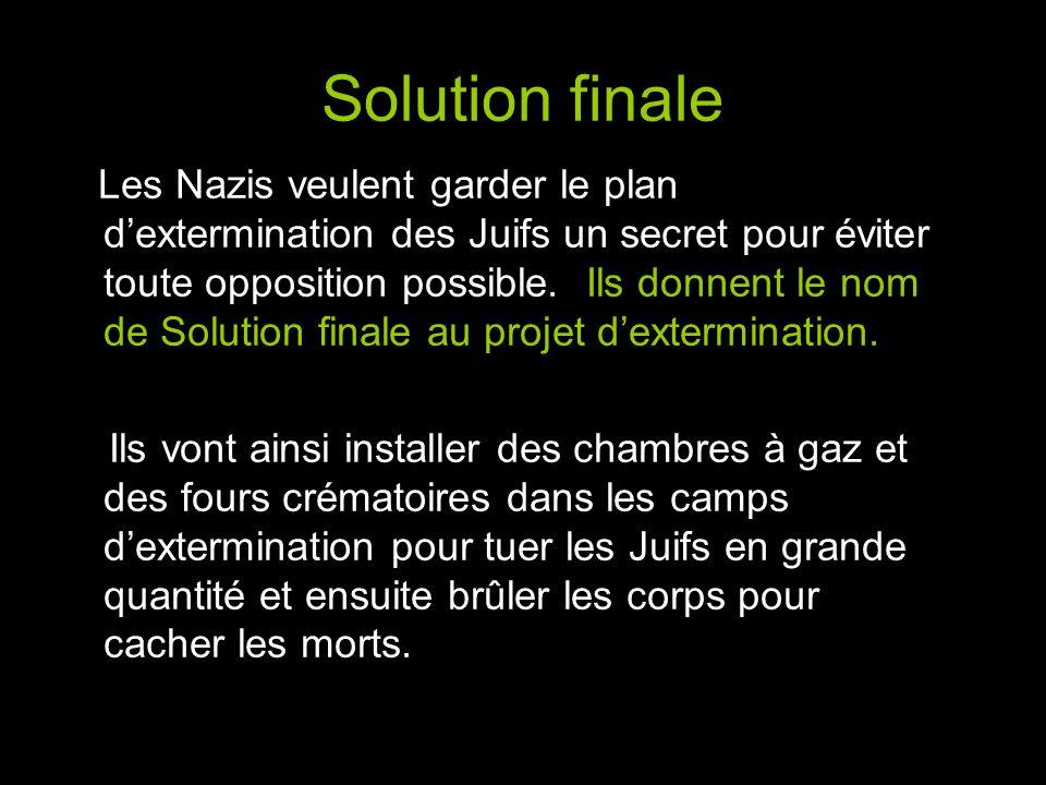Solution finale Les Nazis veulent garder le plan d'extermination des Juifs un secret pour éviter toute opposition possible.