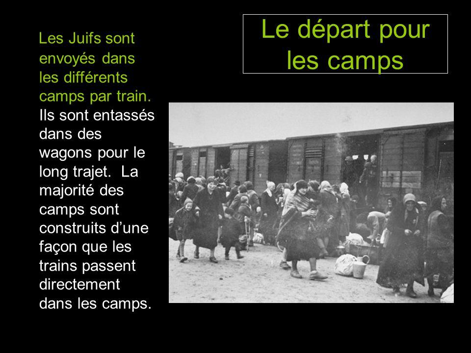 Le départ pour les camps Les Juifs sont envoyés dans les différents camps par train.