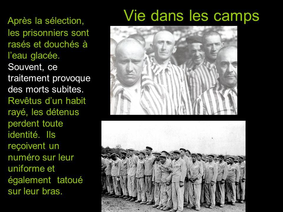 Vie dans les camps Après la sélection, les prisonniers sont rasés et douchés à l'eau glacée.