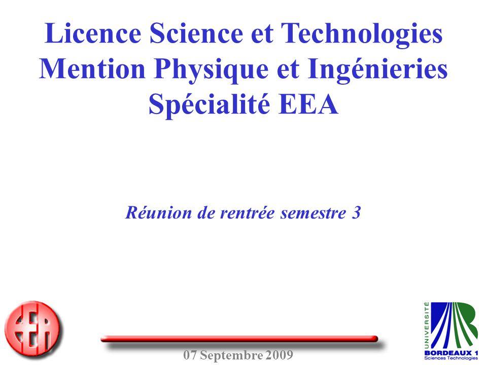 07 Septembre 2009 Licence Science et Technologies Mention Physique et Ingénieries Spécialité EEA Réunion de rentrée semestre 3