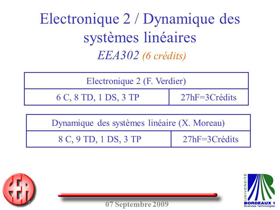 07 Septembre 2009 Electronique 2 / Dynamique des systèmes linéaires EEA302 (6 crédits) 6 C, 8 TD, 1 DS, 3 TP Electronique 2 (F. Verdier) 27hF=3Crédits