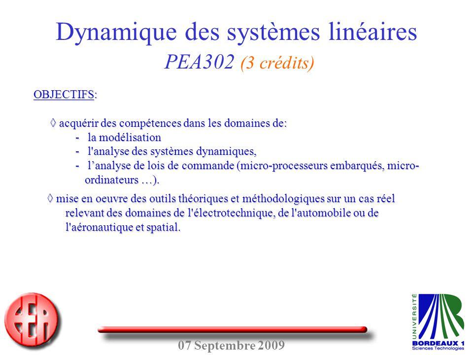 07 Septembre 2009 OBJECTIFS: ◊acquérir des compétences dans les domaines de: ◊ acquérir des compétences dans les domaines de: - la modélisation - l'an