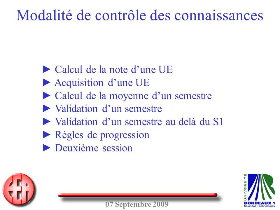 07 Septembre 2009 ► Calcul de la note d'une UE ► Acquisition d'une UE ► Calcul de la moyenne d'un semestre ► Validation d'un semestre ► Validation d'u