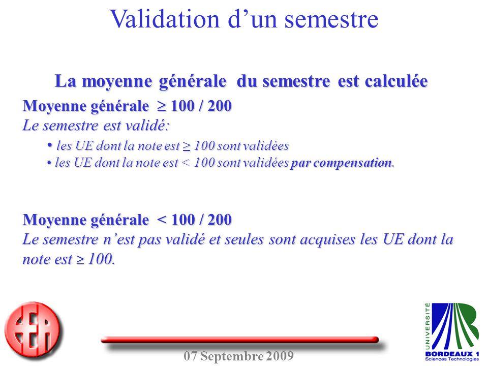 07 Septembre 2009 Moyenne générale  100 / 200 Le semestre est validé: • les UE dont la note est ≥ 100 sont validées • les UE dont la note est < 100 s