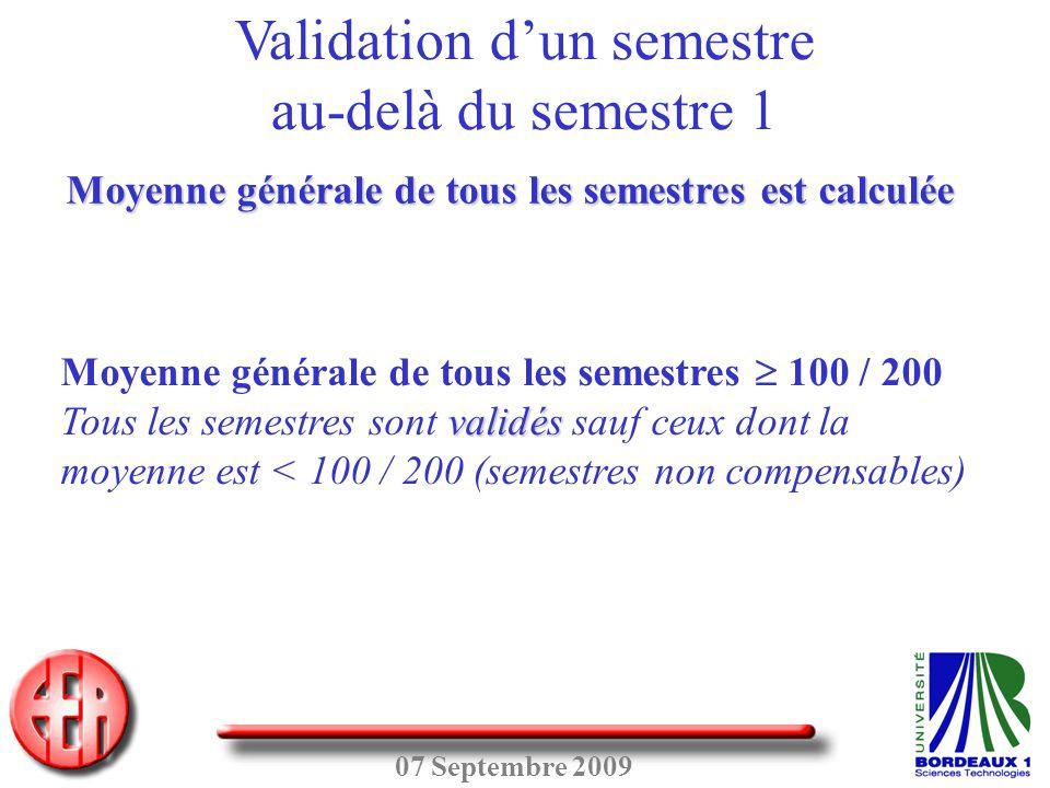 07 Septembre 2009 Moyenne générale de tous les semestres  100 / 200 validés Tous les semestres sont validés sauf ceux dont la moyenne est < 100 / 200