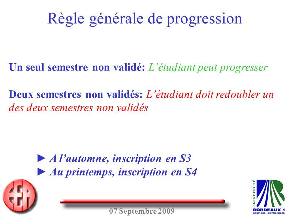 07 Septembre 2009 Un seul semestre non validé: L'étudiant peut progresser Deux semestres non validés: L'étudiant doit redoubler un des deux semestres