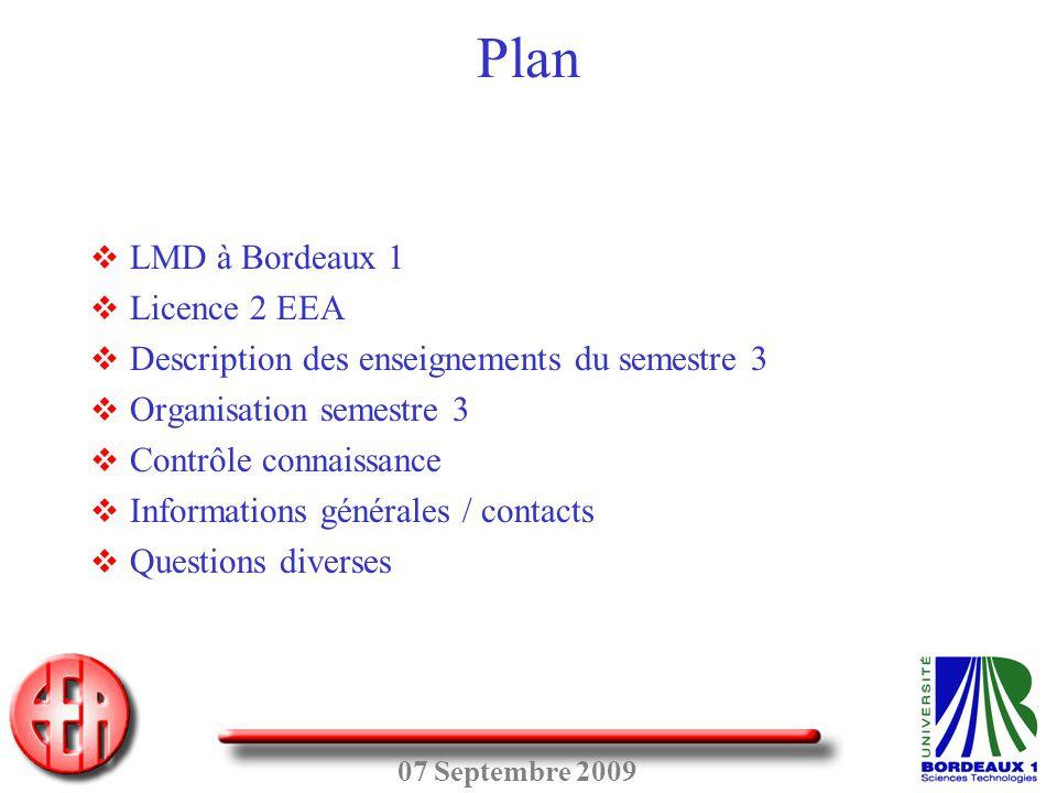 07 Septembre 2009 Plan  LMD à Bordeaux 1  Licence 2 EEA  Description des enseignements du semestre 3  Organisation semestre 3  Contrôle connaissa