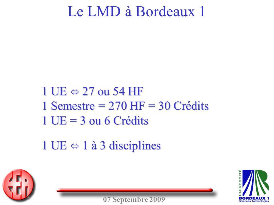 07 Septembre 2009 Le LMD à Bordeaux 1 1 UE  27 ou 54 HF 1 Semestre = 270 HF = 30 Crédits 1 UE = 3 ou 6 Crédits 1 UE  1 à 3 disciplines
