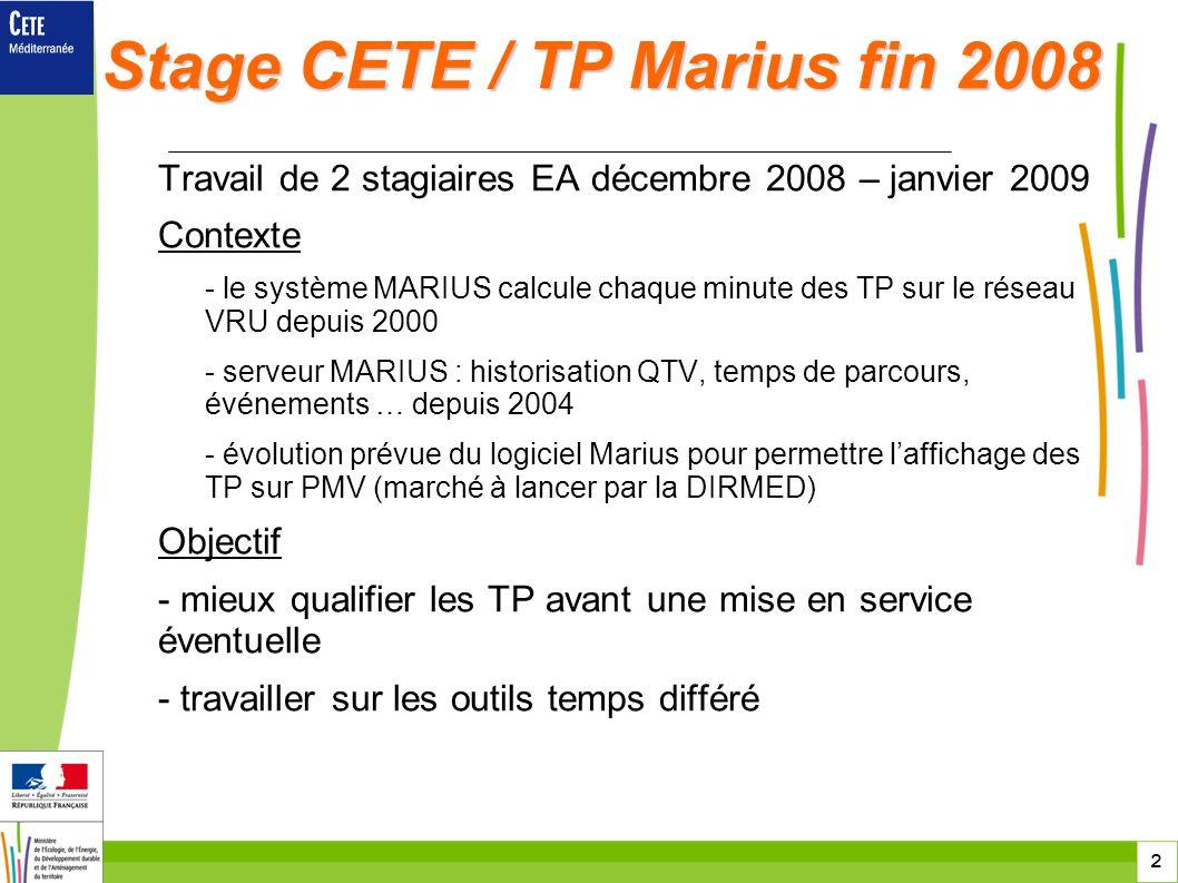 2 Stage CETE / TP Marius fin 2008 Travail de 2 stagiaires EA décembre 2008 – janvier 2009 Contexte - le système MARIUS calcule chaque minute des TP su
