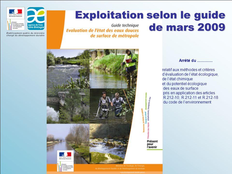 Exploitation selon le guide de mars 2009 Arrêté du ………… relatif aux méthodes et critères d'évaluation de l'état écologique, de l'état chimique et du potentiel écologique des eaux de surface pris en application des articles R.212-10, R.212-11 et R.212-18 du code de l'environnement