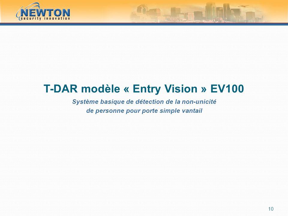 T-DAR modèle « Entry Vision » EV100 Système basique de détection de la non-unicité de personne pour porte simple vantail 10