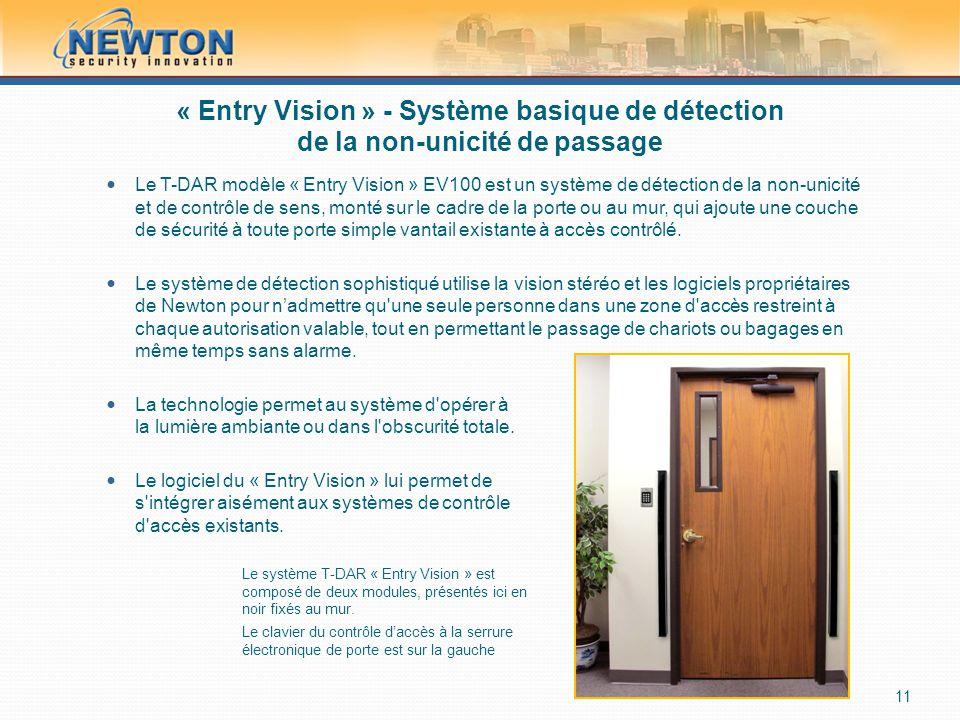 « Entry Vision » - Système basique de détection de la non-unicité de passage  Le T-DAR modèle « Entry Vision » EV100 est un système de détection de la non-unicité et de contrôle de sens, monté sur le cadre de la porte ou au mur, qui ajoute une couche de sécurité à toute porte simple vantail existante à accès contrôlé.