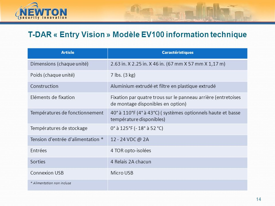 T-DAR « Entry Vision » Modèle EV100 information technique ArticleCaractéristiques Dimensions (chaque unité)2.63 in. X 2.25 in. X 46 in. (67 mm X 57 mm