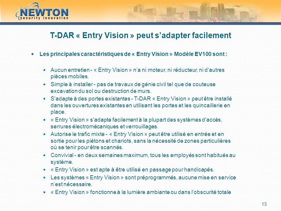 T-DAR « Entry Vision » peut s'adapter facilement  Les principales caractéristiques de « Entry Vision » Modèle EV100 sont :  Aucun entretien - « Entry Vision » n'a ni moteur, ni réducteur, ni d autres pièces mobiles.