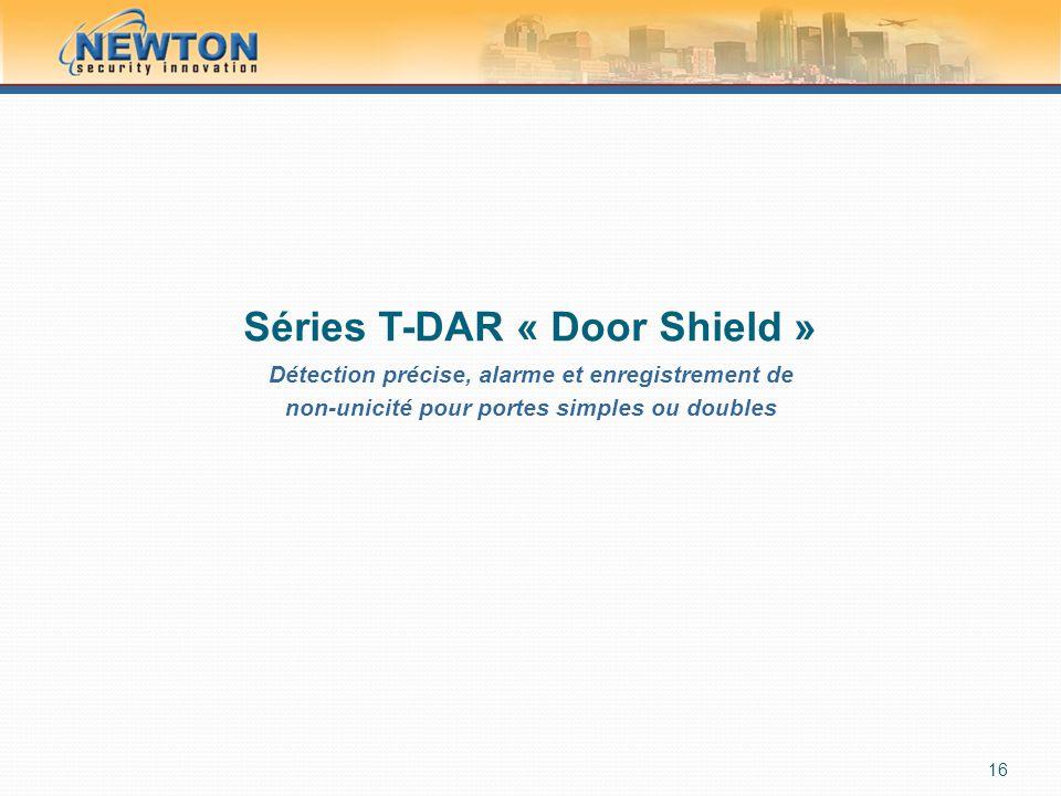 Séries T-DAR « Door Shield » Détection précise, alarme et enregistrement de non-unicité pour portes simples ou doubles 16