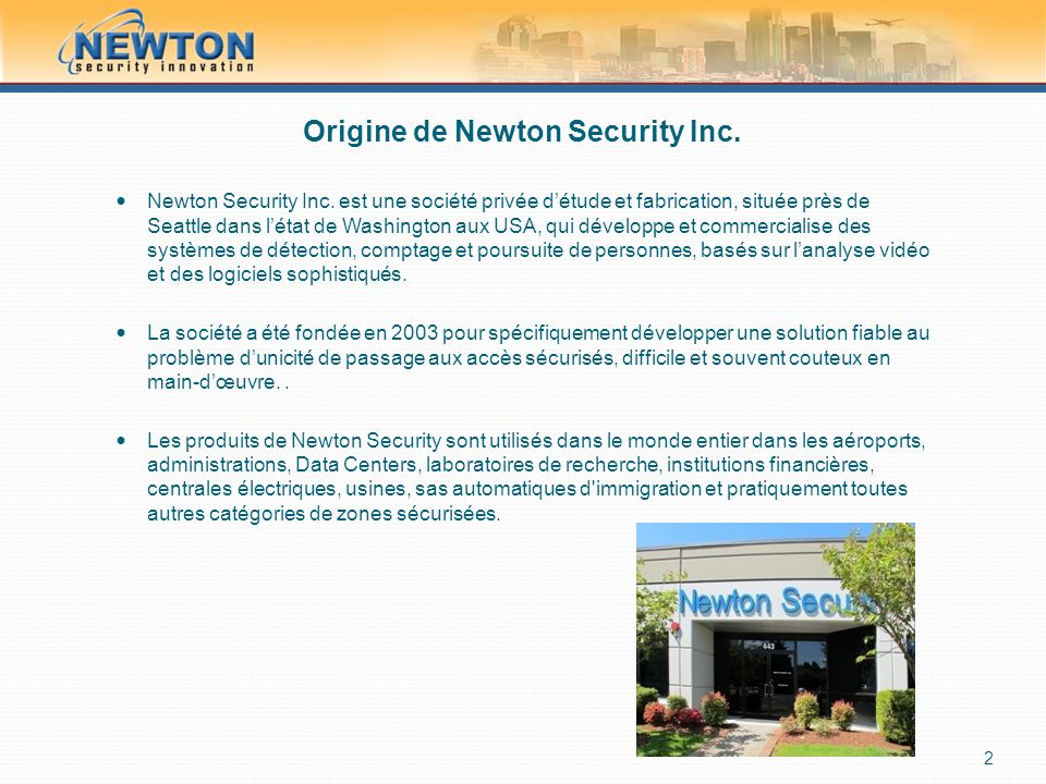Origine de Newton Security Inc. Newton Security Inc.