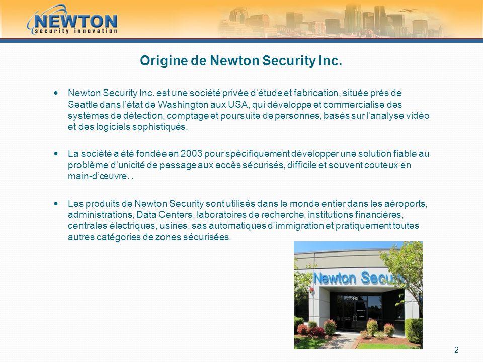 Origine de Newton Security Inc.  Newton Security Inc. est une société privée d'étude et fabrication, située près de Seattle dans l'état de Washington