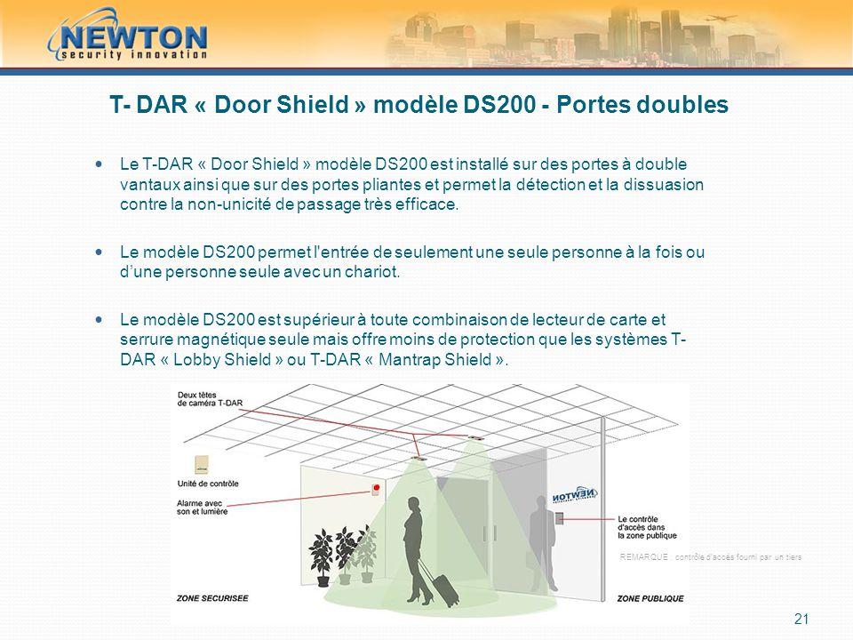 T- DAR « Door Shield » modèle DS200 - Portes doubles  Le T-DAR « Door Shield » modèle DS200 est installé sur des portes à double vantaux ainsi que sur des portes pliantes et permet la détection et la dissuasion contre la non-unicité de passage très efficace.