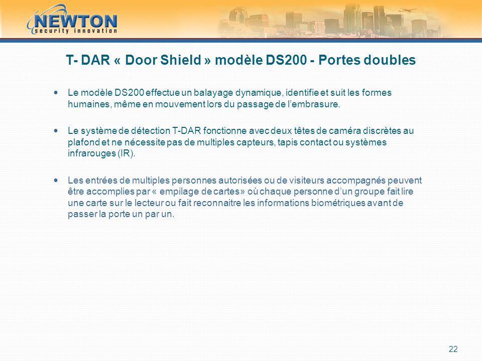 T- DAR « Door Shield » modèle DS200 - Portes doubles  Le modèle DS200 effectue un balayage dynamique, identifie et suit les formes humaines, même en mouvement lors du passage de l'embrasure.
