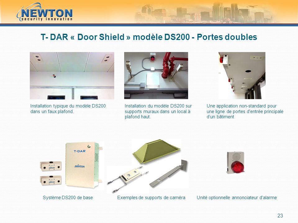 T- DAR « Door Shield » modèle DS200 - Portes doubles 23 Installation typique du modèle DS200 dans un faux plafond.