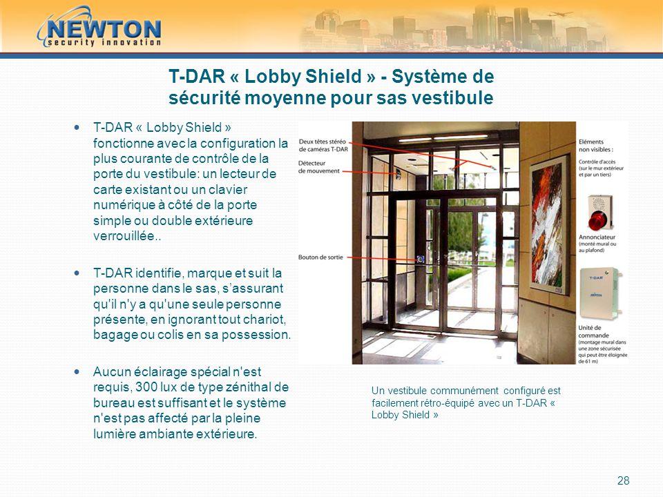 T-DAR « Lobby Shield » - Système de sécurité moyenne pour sas vestibule  T-DAR « Lobby Shield » fonctionne avec la configuration la plus courante de contrôle de la porte du vestibule: un lecteur de carte existant ou un clavier numérique à côté de la porte simple ou double extérieure verrouillée..