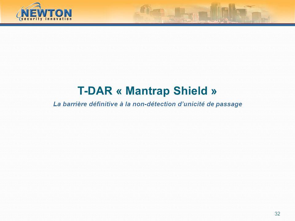 T-DAR « Mantrap Shield » La barrière définitive à la non-détection d'unicité de passage 32