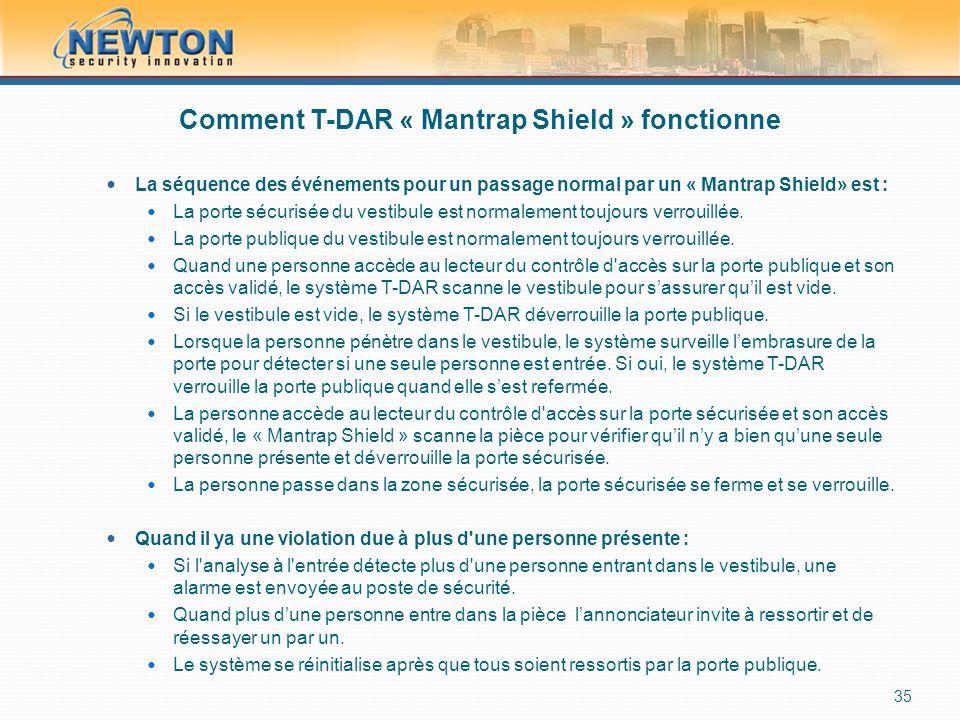 Comment T-DAR « Mantrap Shield » fonctionne  La séquence des événements pour un passage normal par un « Mantrap Shield» est :  La porte sécurisée du vestibule est normalement toujours verrouillée.