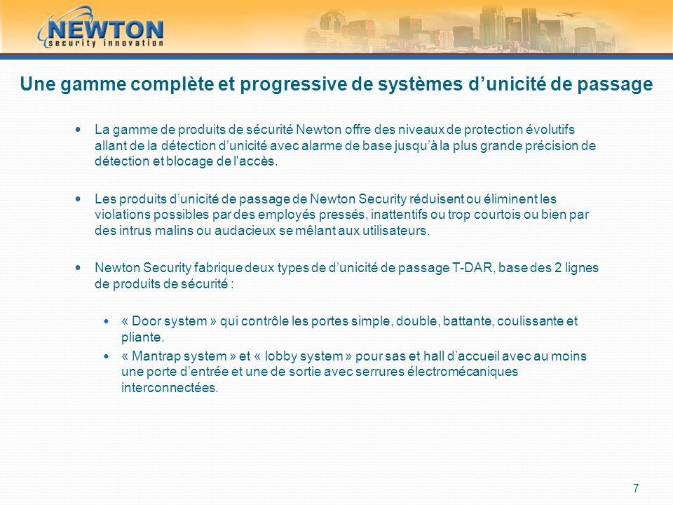 Une gamme complète et progressive de systèmes d'unicité de passage  La gamme de produits de sécurité Newton offre des niveaux de protection évolutifs allant de la détection d'unicité avec alarme de base jusqu'à la plus grande précision de détection et blocage de l accès.