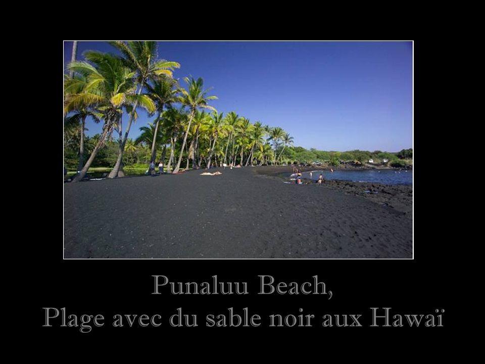 Punaluu Beach, Plage avec du sable noir aux Hawaï