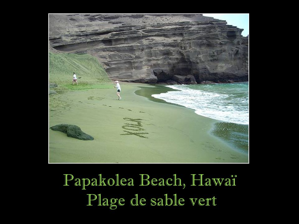 Papakolea Beach, Hawaï Plage de sable vert