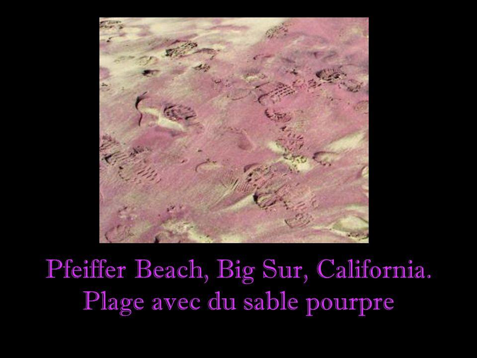 Pfeiffer Beach, Big Sur, California. Plage avec du sable pourpre