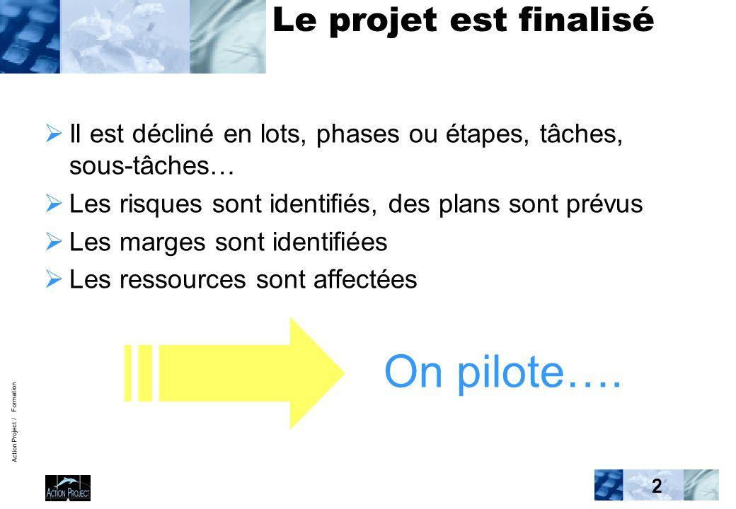 Action Project / Formation 2 Le projet est finalisé  Il est décliné en lots, phases ou étapes, tâches, sous-tâches…  Les risques sont identifiés, de