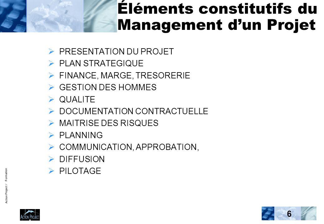 Action Project / Formation 6 Éléments constitutifs du Management d'un Projet  PRESENTATION DU PROJET  PLAN STRATEGIQUE  FINANCE, MARGE, TRESORERIE