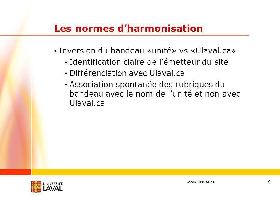 www.ulaval.ca 10 Les normes d'harmonisation • Inversion du bandeau «unité» vs «Ulaval.ca» • Identification claire de l'émetteur du site • Différenciat