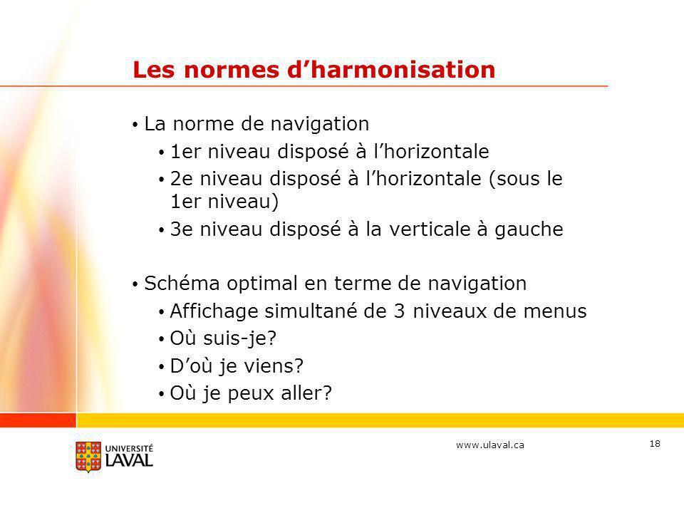 www.ulaval.ca 18 Les normes d'harmonisation • La norme de navigation • 1er niveau disposé à l'horizontale • 2e niveau disposé à l'horizontale (sous le