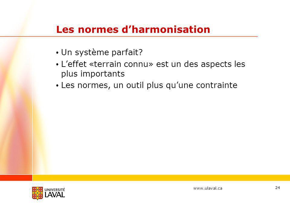 www.ulaval.ca 24 Les normes d'harmonisation • Un système parfait? • L'effet «terrain connu» est un des aspects les plus importants • Les normes, un ou
