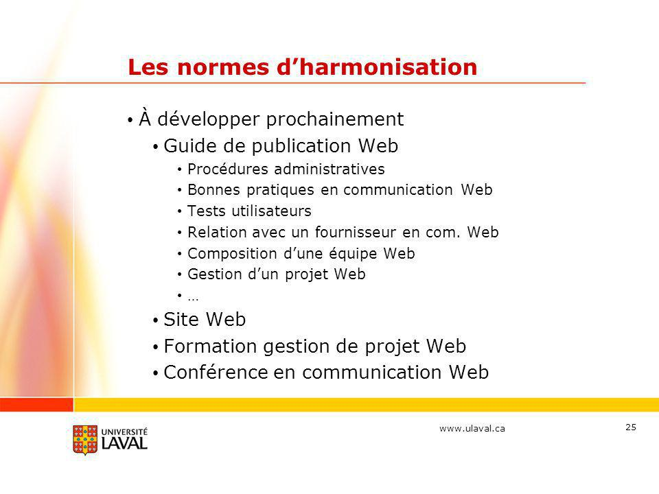 www.ulaval.ca 25 Les normes d'harmonisation • À développer prochainement • Guide de publication Web • Procédures administratives • Bonnes pratiques en