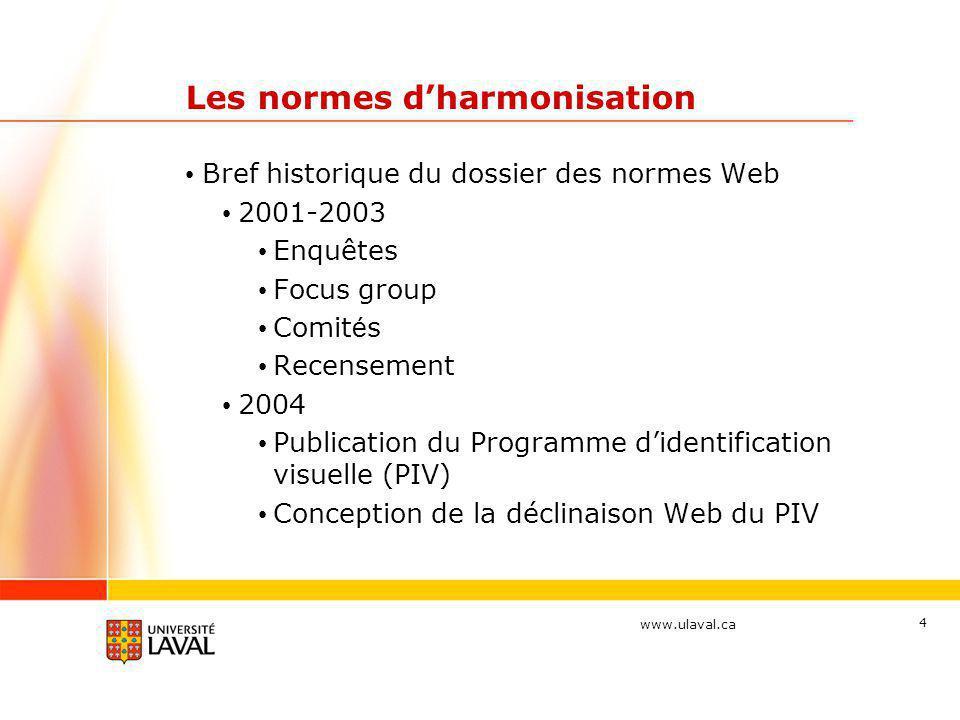 www.ulaval.ca 4 Les normes d'harmonisation • Bref historique du dossier des normes Web • 2001-2003 • Enquêtes • Focus group • Comit é s • Recensement