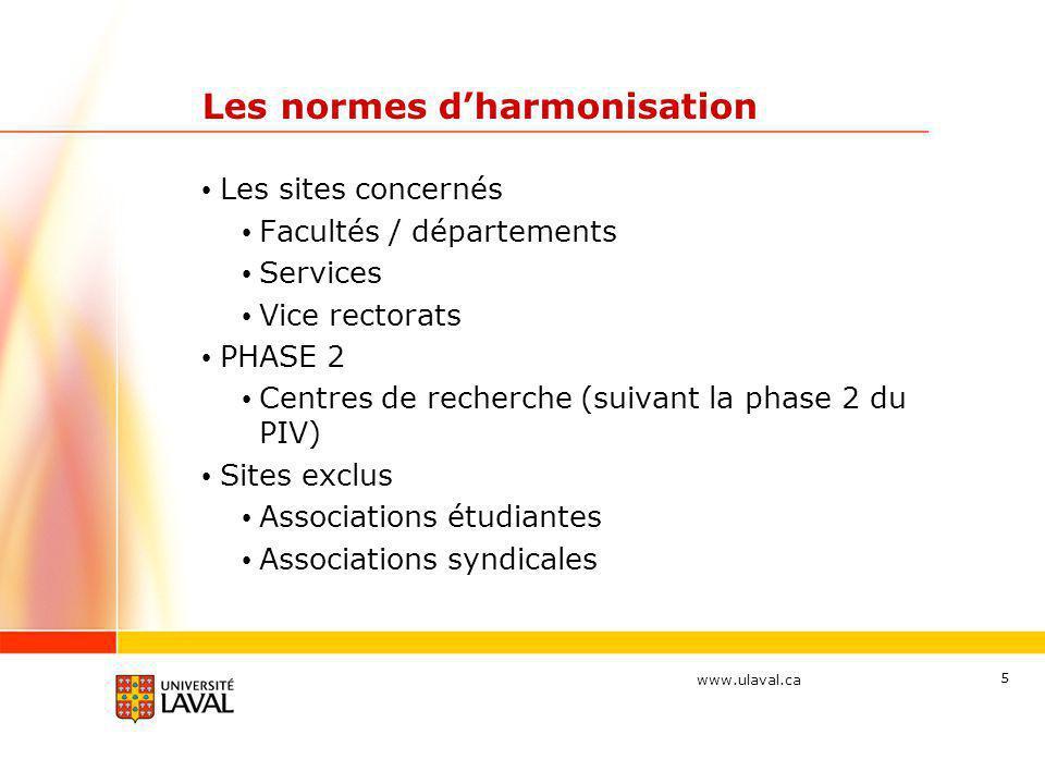 www.ulaval.ca 6 Les normes d'harmonisation • Rythme d'application des normes • Nouveaux sites • Sites en refonte IL N'Y A AUCUNE OBLIGATION DE CONVERTIR LES SITES DÉJÀ EXISTANTS