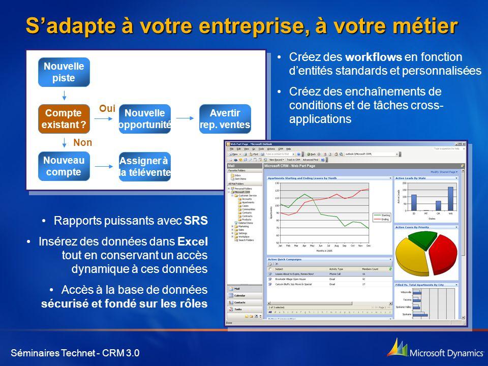 Séminaires Technet - CRM 3.0 S'adapte à votre entreprise, à votre métier •Rapports puissants avec SRS •Insérez des données dans Excel tout en conserva