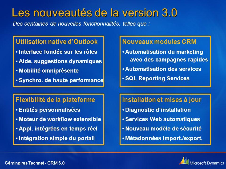 Séminaires Technet - CRM 3.0 Les nouveautés de la version 3.0 Utilisation native d'Outlook •Interface fondée sur les rôles •Aide, suggestions dynamiques •Mobilité omniprésente •Synchro.