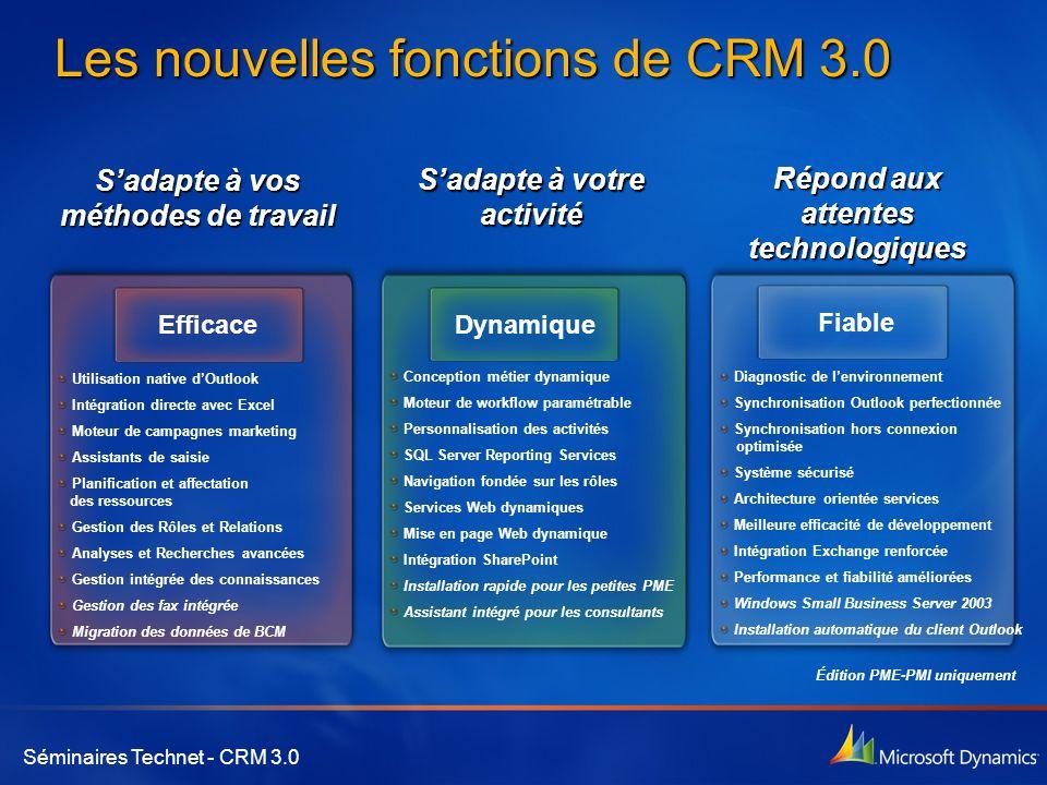Séminaires Technet - CRM 3.0 Les nouvelles fonctions de CRM 3.0 S'adapte à vos méthodes de travail S'adapte à votre activité Répond aux attentes techn