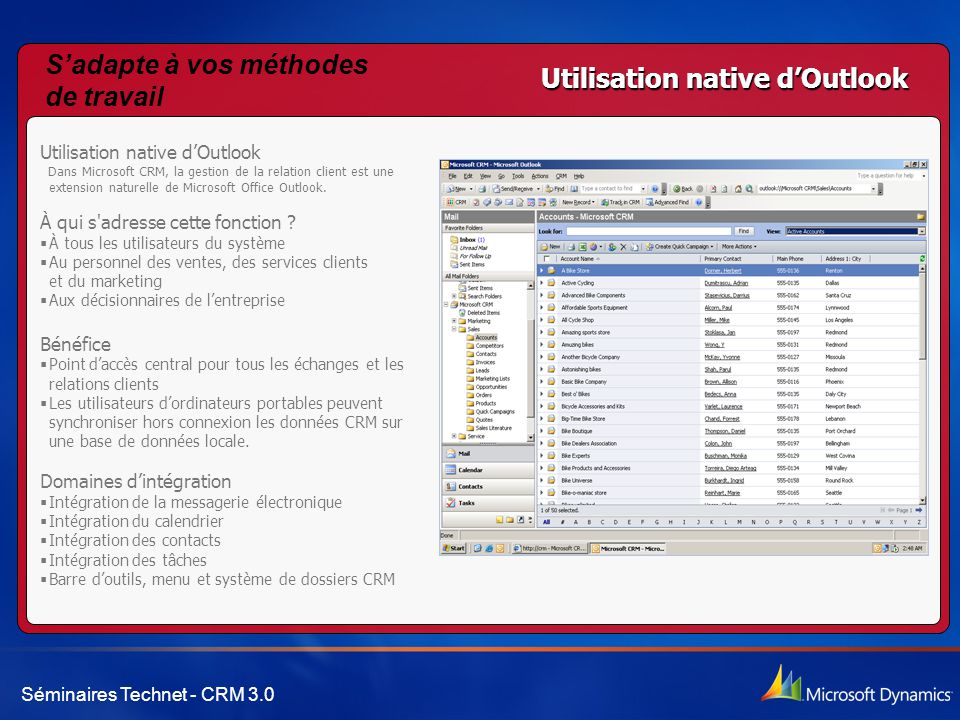Séminaires Technet - CRM 3.0 Utilisation native d'Outlook Dans Microsoft CRM, la gestion de la relation client est une extension naturelle de Microsof