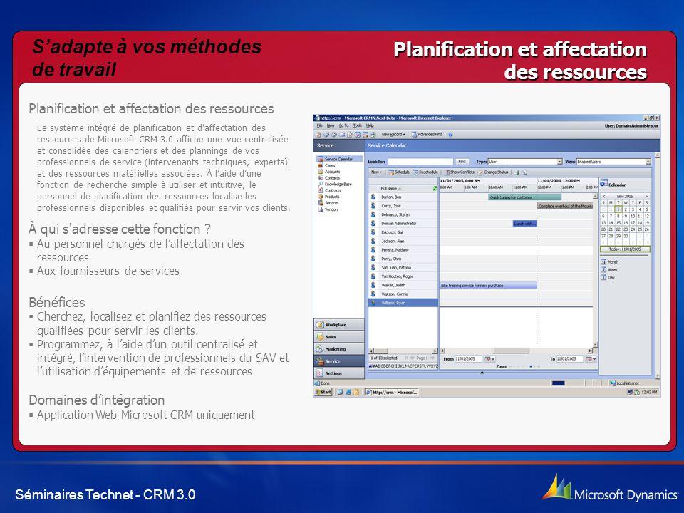 Séminaires Technet - CRM 3.0 Planification et affectation des ressources Le système intégré de planification et d'affectation des ressources de Micros