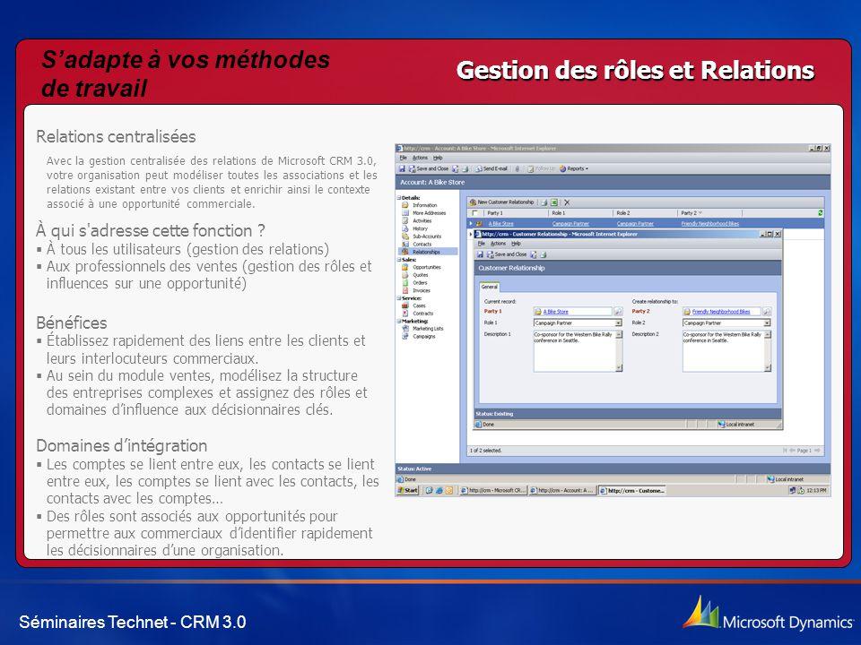 Séminaires Technet - CRM 3.0 Gestion des rôles et Relations Relations centralisées Avec la gestion centralisée des relations de Microsoft CRM 3.0, vot