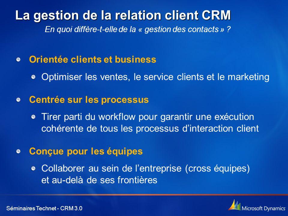 Séminaires Technet - CRM 3.0 La gestion de la relation client CRM Orientée clients et business Optimiser les ventes, le service clients et le marketing Centrée sur les processus Tirer parti du workflow pour garantir une exécution cohérente de tous les processus d'interaction client Conçue pour les équipes Collaborer au sein de l'entreprise (cross équipes) et au-delà de ses frontières En quoi diffère-t-elle de la « gestion des contacts » ?