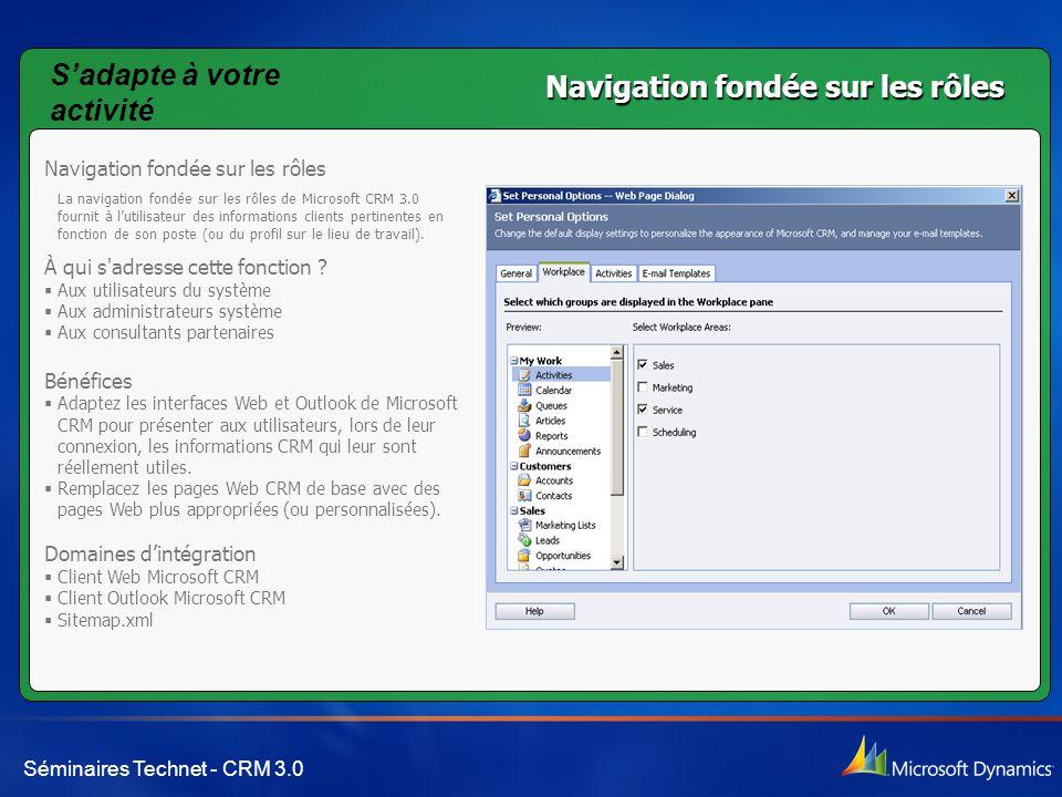 Séminaires Technet - CRM 3.0 Navigation fondée sur les rôles La navigation fondée sur les rôles de Microsoft CRM 3.0 fournit à l'utilisateur des infor